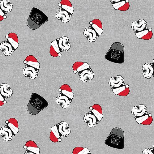 Star Wars Vader and Trooper In Santa Hat Christmas Fabric - Grey