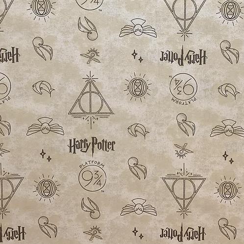 Harry Potter Dark Cream Symbols Fabric