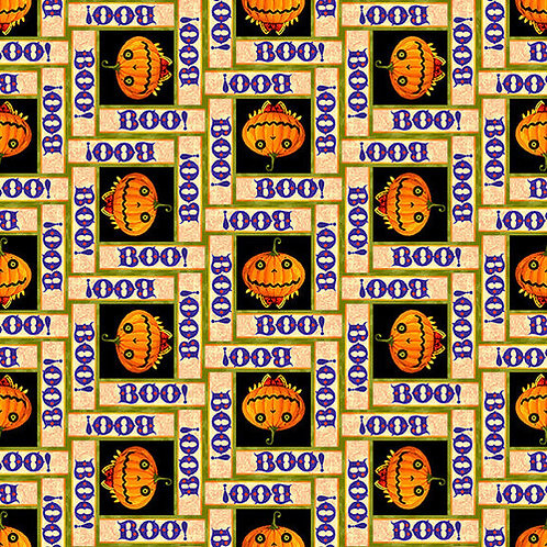 Witchful Thinking Boo Pumpkins Halloween Fabric