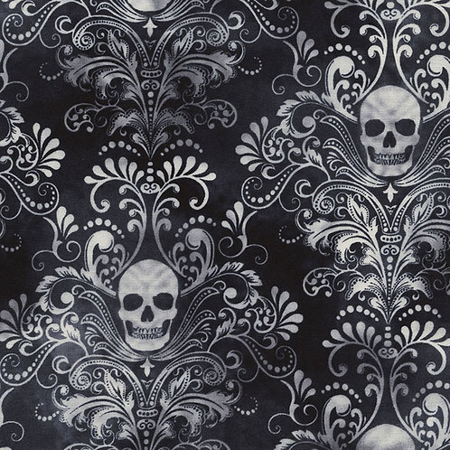Wicked Eve Black Skull Damask Fabric