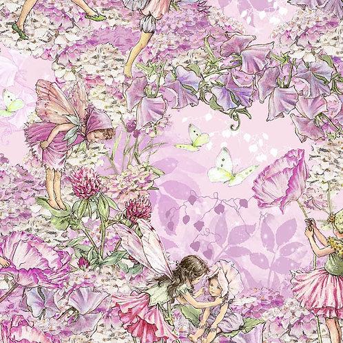 Pink Petal Flower Fairies Allover Fabric