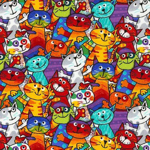 Multi Cats Fabric