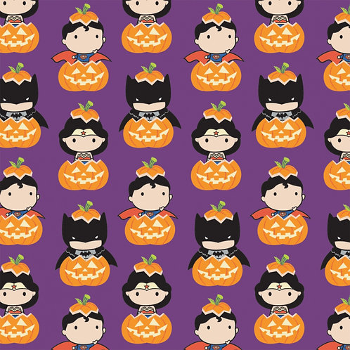 DC Comics Kawaii Halloween Fabric - Purple