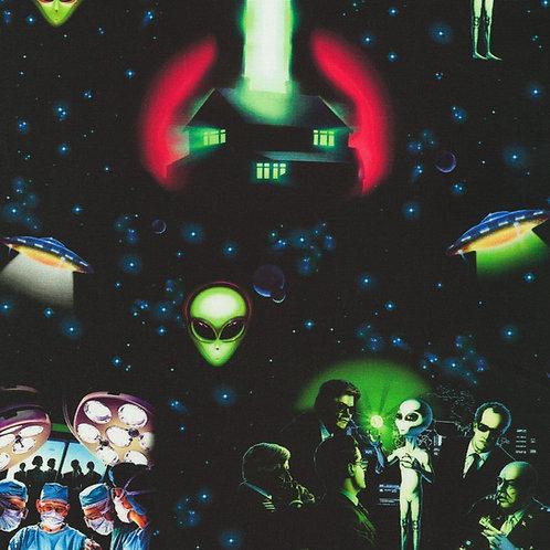 Black Eerie Area 51 Alien Fabric