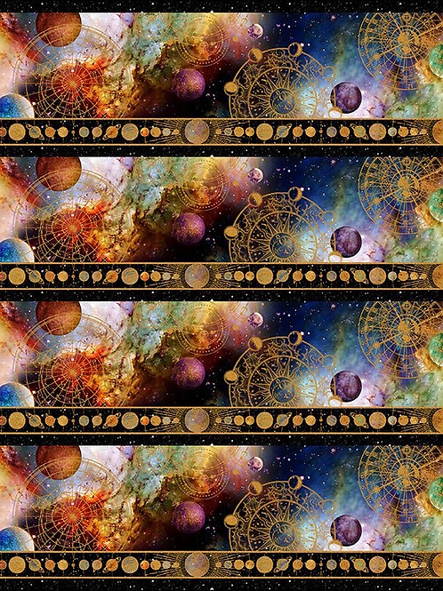 Cosmos Universe Border Print Fabric