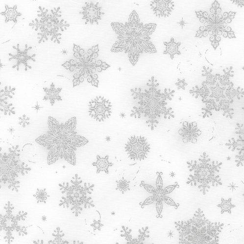 Holiday Flourish 14 Snowflakes Silver with metallic Fabric