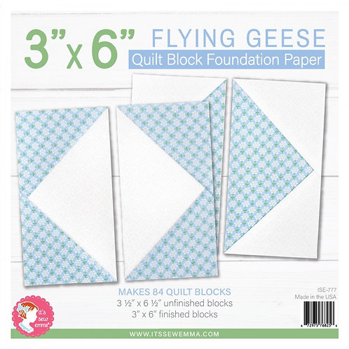 Flying Geese Quilt Block 3in x 6in Foundation Paper Pad