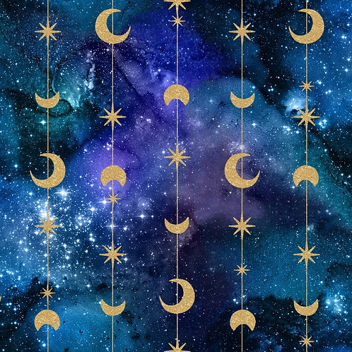 Magical Galaxy Stars and Moons Fabric with Metallic
