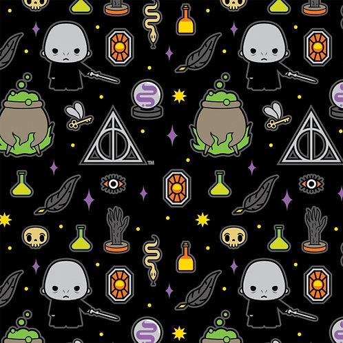 Harry Potter Kawaii Dark Arts Halloween Fabric - Black