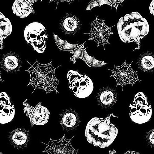 Hocus Pocus Tossed Halloween Motifs Glow In The Dark Fabric