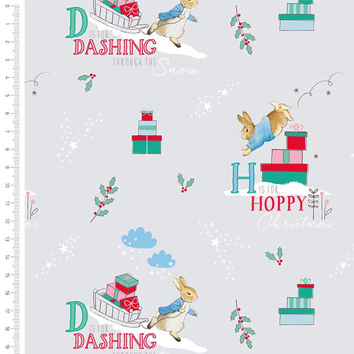 Peter Rabbit Letters Christmas Fabric - Grey