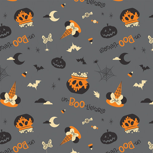 Disney Minnie Mouse Unboolievable Halloween Fabric - Grey