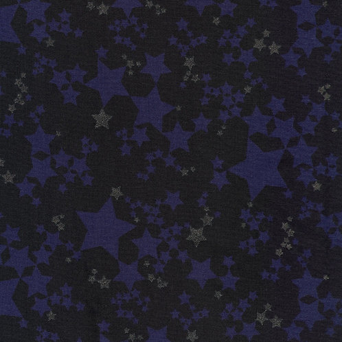 Moonlight Astral Stars Fabric w/Glitter Metallic