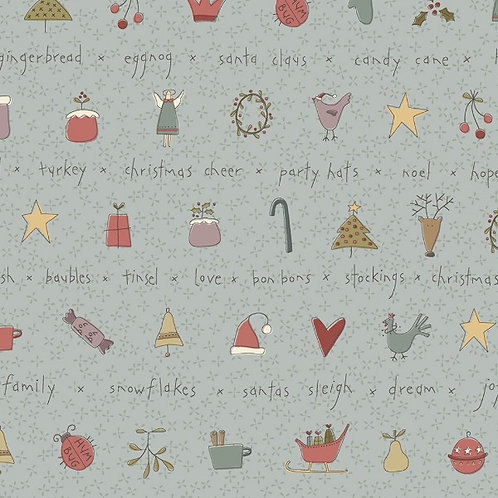 Anni Downs All For Christmas Blue Stripe Fabric