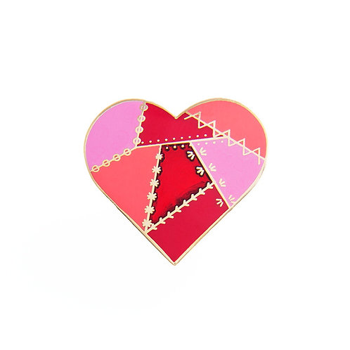Pin Peddlers Red Patched Heart Pin