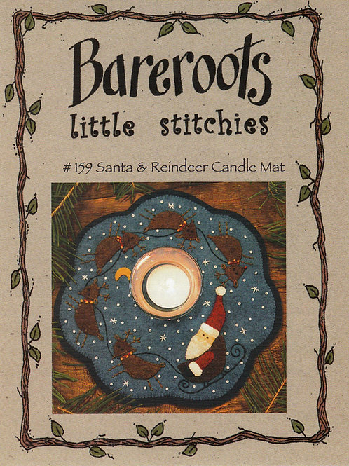 Bareroots Little Stitches Santa and His Reindeer Candle Mat Pattern