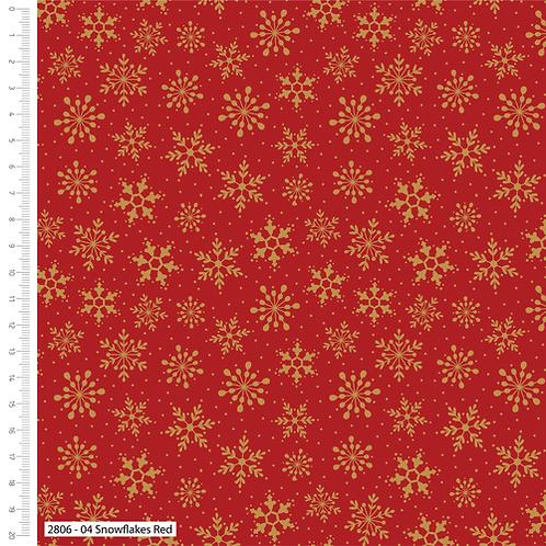 Craft Cotton Metallic Snowflakes Red Christmas Fabric