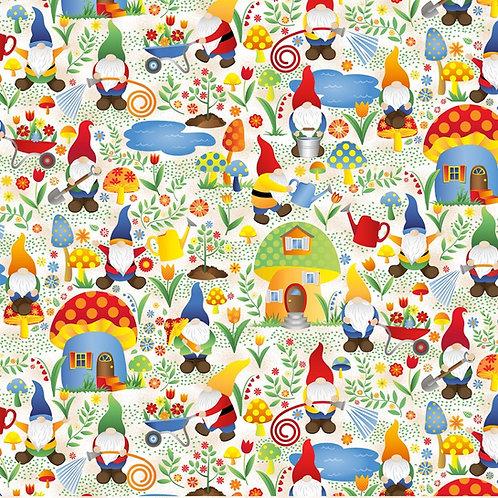 Gnomes in Mushroom Houses Fabric - White