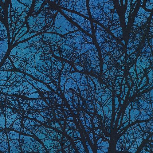 Spooky Raven Moon Trees Fabric