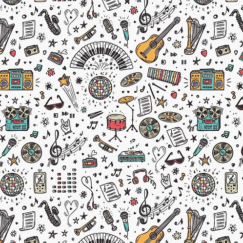 School Days Music Fabric