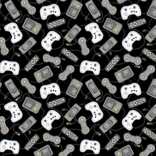 Black Game Console Controllers Fabric