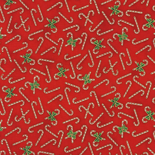Holiday Charms Candy Canes Red with metallic Fabric