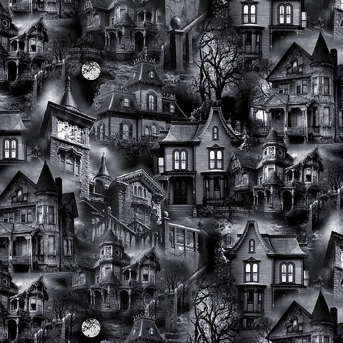 Black Wicked Haunted Houses Fabric