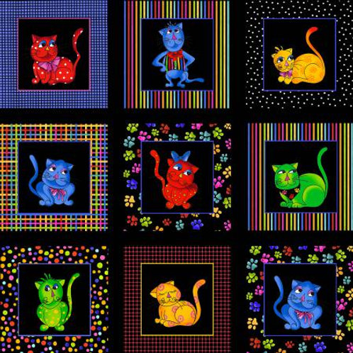 Loralie Designs Multi Cool Cats Panel