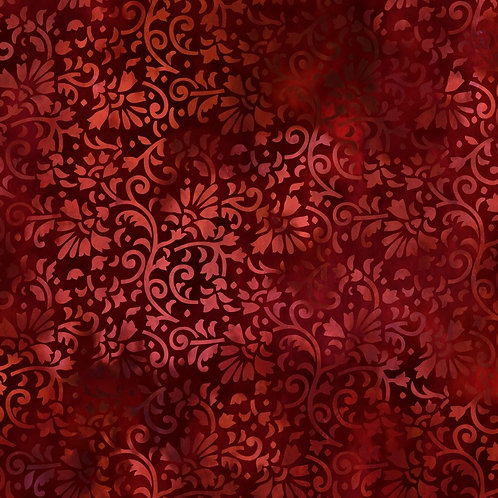 Rainbow of Jewels Vines Fabric - Red