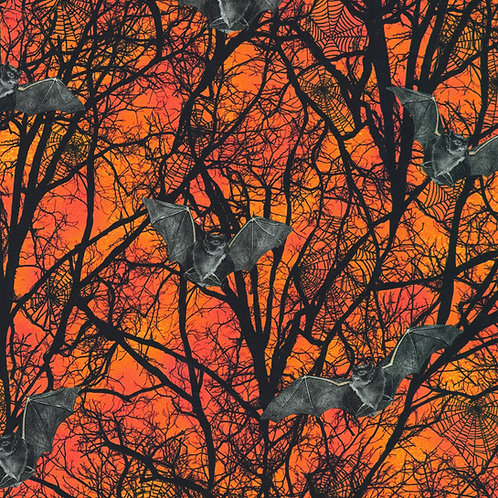 Pumpkin Raven Moon Bats and Trees Fabric