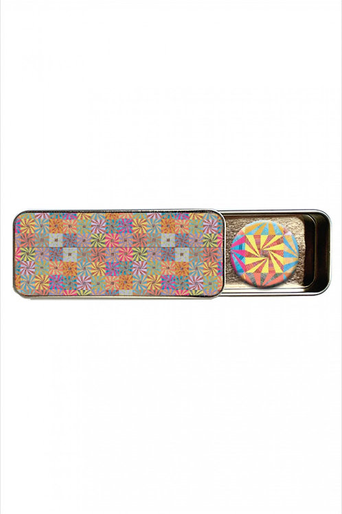 Kaffe Fassett Whirling Stripes Magnetic Needle Tin With Magnet