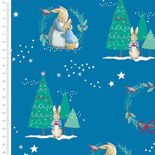 Peter Rabbit Christmas Fabric - Dark Blue