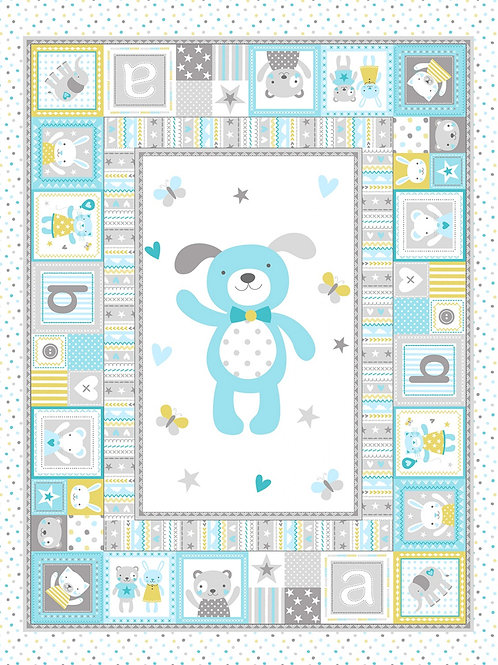 Cloud Playful Puppy Quilt Panel
