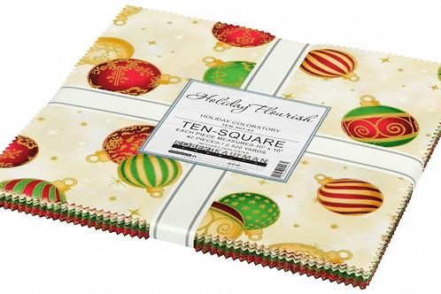 Robert Kaufman Holiday Flourish 14 Holiday Layer Cake with Metallic