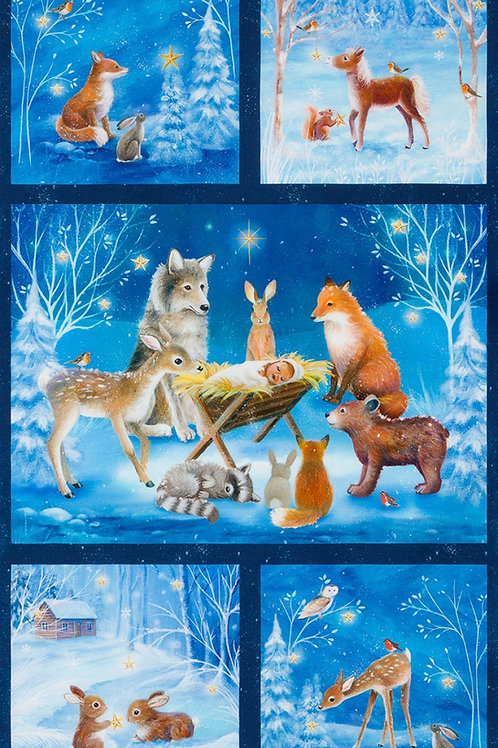 Winter Ware Wishes Forest Animals Christmas Fabric Panel