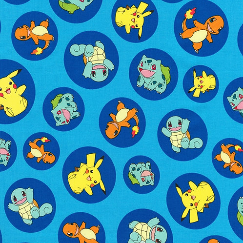 Blue Circles Pokemon Fabric