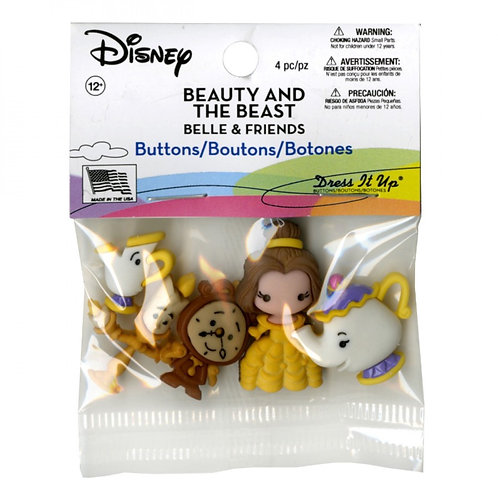 Beauty and the Beast Belle and Friends Button Embellishments