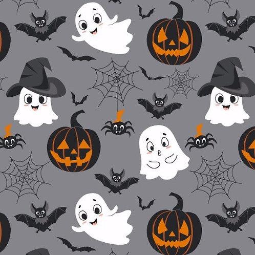 Halloween Ghost, Bat Pumpkin Poplin Fabric - Grey