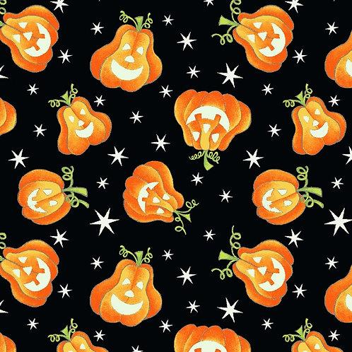 Here We Glow Black Tossed Pumpkins Glow In The Dark Fabric