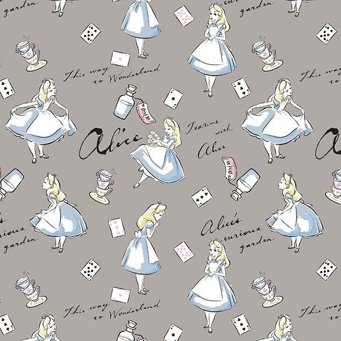 Disney Grey Alice In Wonderland Fabric