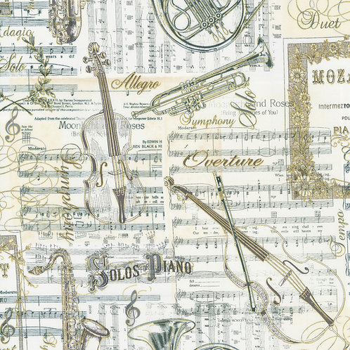Antique Musical Instruments on Music Sheets w/Metallic Fabric