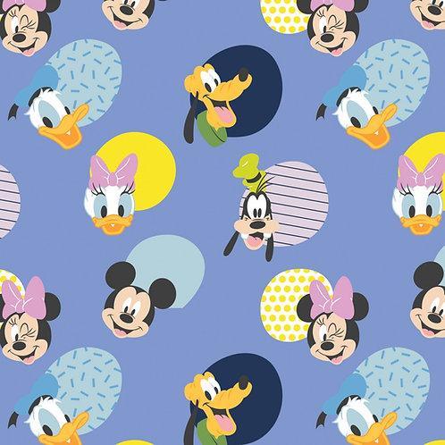 Disney Mickey Mouse Hello Memphis Fabric - Periwinkle