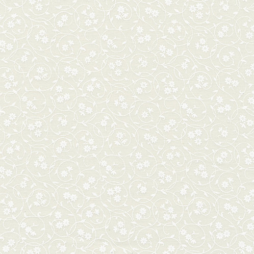 Stof Swirl Flowers White on Cream Fabric 313-013