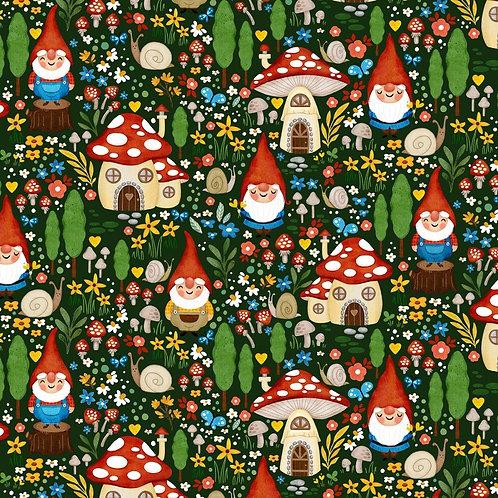 Green Gnome Garden Fabric