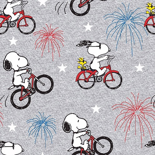 Peanuts Snoopy and Woodstock Fireworks Fabric