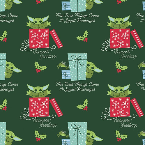 Star Wars Child Yoda Small Packages Christmas Fabric
