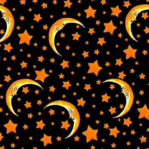 Witchful Thinking Black Moon and Stars Halloween Fabric