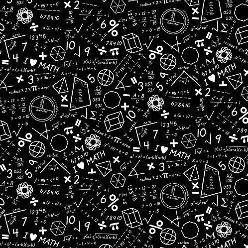 Black Maths Fabric