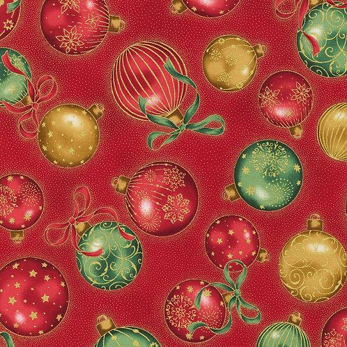 LP Holiday Flourish Baubles Red w/metallic