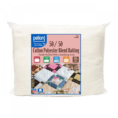 """Pellon 50/50 Cotton Poly Blend Wadding 120"""" x 120"""" King Size"""